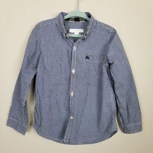 Burberry plaid button down shirt boys blue